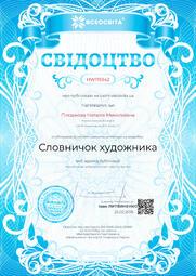 Свідоцтво про публікацію матеріала №HW119342