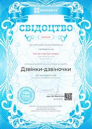 Свідоцтво про публікацію матеріала №IA055101