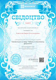 Свідоцтво про публікацію матеріала №IS220071