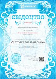Свідоцтво про публікацію матеріала №NM087079
