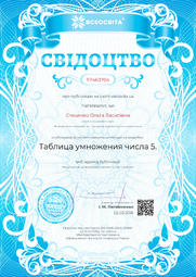 Свідоцтво про публікацію матеріала №TP463704