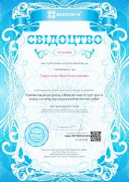 Свідоцтво про публікацію матеріала №YC134092
